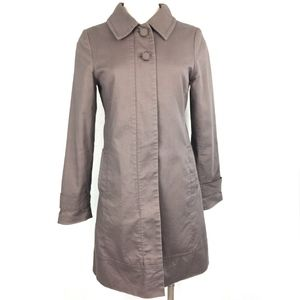 H&M Long Zip Up Trench Coat in Taupe S / 4